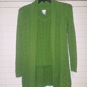Chico's Vibrant Green Knit Sweater Set (2pc)